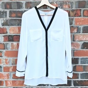 H&M Long Sleeve Dress Button Up White Shirt 36 6